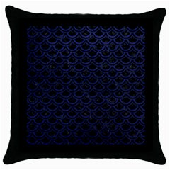 Scales2 Black Marble & Blue Leather Throw Pillow Case (black) by trendistuff