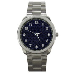 Scales2 Black Marble & Blue Leather Sport Metal Watch by trendistuff