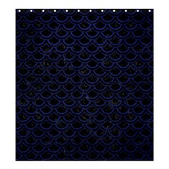 Scales2 Black Marble & Blue Leather Shower Curtain 66  X 72  (large) by trendistuff