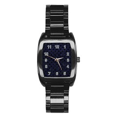 Scales2 Black Marble & Blue Leather Stainless Steel Barrel Watch by trendistuff
