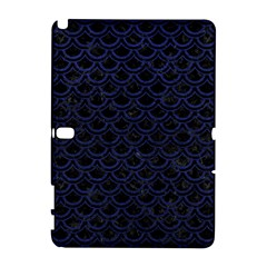 Scales2 Black Marble & Blue Leather Samsung Galaxy Note 10 1 (p600) Hardshell Case by trendistuff