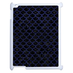Scales1 Black Marble & Blue Leather Apple Ipad 2 Case (white) by trendistuff