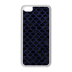 Scales1 Black Marble & Blue Leather Apple Iphone 5c Seamless Case (white) by trendistuff