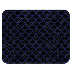 Scales1 Black Marble & Blue Leather Double Sided Flano Blanket (medium) by trendistuff