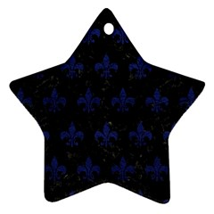 Royal1 Black Marble & Blue Leather (r) Ornament (star) by trendistuff