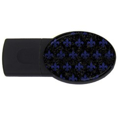 Royal1 Black Marble & Blue Leather (r) Usb Flash Drive Oval (4 Gb) by trendistuff