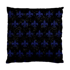 Royal1 Black Marble & Blue Leather (r) Standard Cushion Case (one Side) by trendistuff
