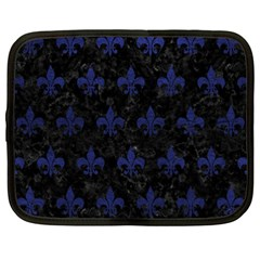 Royal1 Black Marble & Blue Leather (r) Netbook Case (xxl) by trendistuff
