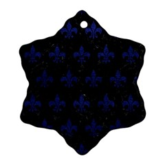 Royal1 Black Marble & Blue Leather (r) Ornament (snowflake) by trendistuff