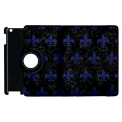 Royal1 Black Marble & Blue Leather (r) Apple Ipad 3/4 Flip 360 Case by trendistuff