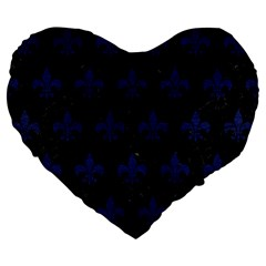 Royal1 Black Marble & Blue Leather (r) Large 19  Premium Flano Heart Shape Cushion by trendistuff
