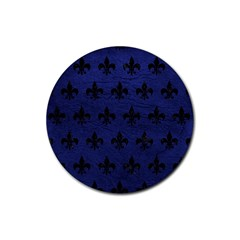 Royal1 Black Marble & Blue Leather Rubber Coaster (round) by trendistuff
