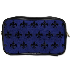 Royal1 Black Marble & Blue Leather Toiletries Bag (one Side) by trendistuff