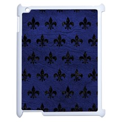 Royal1 Black Marble & Blue Leather Apple Ipad 2 Case (white) by trendistuff
