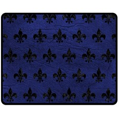 Royal1 Black Marble & Blue Leather Double Sided Fleece Blanket (medium) by trendistuff