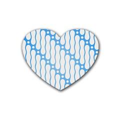 Batik Pattern Rubber Coaster (heart)  by Simbadda