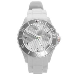 Design Grafis Pattern Round Plastic Sport Watch (l) by Simbadda
