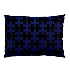 Puzzle1 Black Marble & Blue Leather Pillow Case by trendistuff