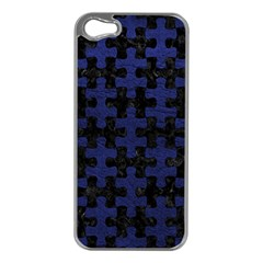 Puzzle1 Black Marble & Blue Leather Apple Iphone 5 Case (silver) by trendistuff
