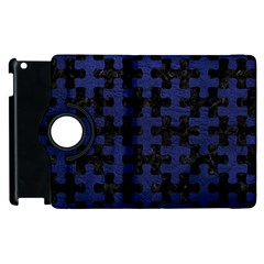 Puzzle1 Black Marble & Blue Leather Apple Ipad 2 Flip 360 Case by trendistuff