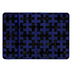 Puzzle1 Black Marble & Blue Leather Samsung Galaxy Tab 8 9  P7300 Flip Case by trendistuff
