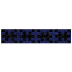 Puzzle1 Black Marble & Blue Leather Flano Scarf (small) by trendistuff
