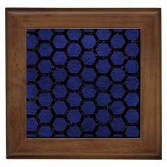 Hexagon2 Black Marble & Blue Leather (r) Framed Tile by trendistuff