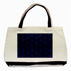 Hexagon2 Black Marble & Blue Leather (r) Basic Tote Bag by trendistuff