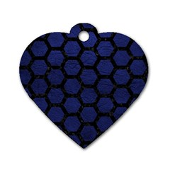 Hexagon2 Black Marble & Blue Leather (r) Dog Tag Heart (one Side) by trendistuff
