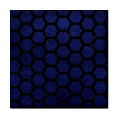 Hexagon2 Black Marble & Blue Leather (r) Face Towel by trendistuff