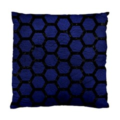 Hexagon2 Black Marble & Blue Leather (r) Standard Cushion Case (one Side) by trendistuff