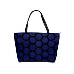 Hexagon2 Black Marble & Blue Leather (r) Classic Shoulder Handbag by trendistuff