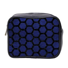 Hexagon2 Black Marble & Blue Leather (r) Mini Toiletries Bag (two Sides) by trendistuff