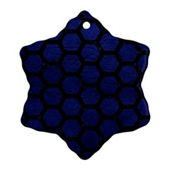 Hexagon2 Black Marble & Blue Leather (r) Ornament (snowflake) by trendistuff