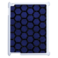 Hexagon2 Black Marble & Blue Leather (r) Apple Ipad 2 Case (white) by trendistuff