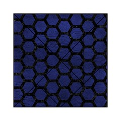 Hexagon2 Black Marble & Blue Leather (r) Acrylic Tangram Puzzle (6  X 6 ) by trendistuff