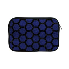 Hexagon2 Black Marble & Blue Leather (r) Apple Ipad Mini Zipper Case by trendistuff