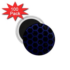 Hexagon2 Black Marble & Blue Leather 1 75  Magnet (100 Pack)  by trendistuff