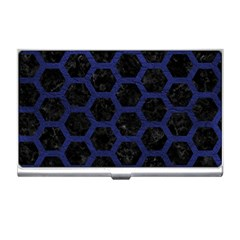 Hexagon2 Black Marble & Blue Leather Business Card Holder by trendistuff