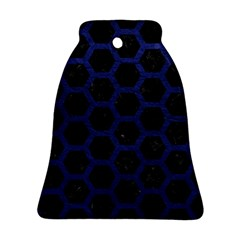 Hexagon2 Black Marble & Blue Leather Bell Ornament (two Sides) by trendistuff