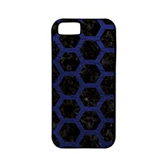 Hexagon2 Black Marble & Blue Leather Apple Iphone 5 Classic Hardshell Case (pc+silicone) by trendistuff