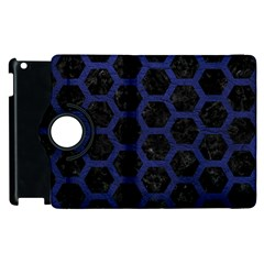 Hexagon2 Black Marble & Blue Leather Apple Ipad 2 Flip 360 Case by trendistuff