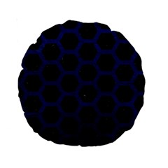 Hexagon2 Black Marble & Blue Leather Standard 15  Premium Round Cushion  by trendistuff