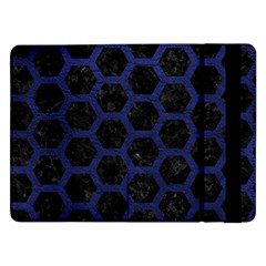 Hexagon2 Black Marble & Blue Leather Samsung Galaxy Tab Pro 12 2  Flip Case by trendistuff