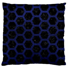 Hexagon2 Black Marble & Blue Leather Standard Flano Cushion Case (one Side) by trendistuff