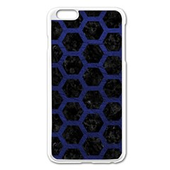 Hexagon2 Black Marble & Blue Leather Apple Iphone 6 Plus/6s Plus Enamel White Case by trendistuff