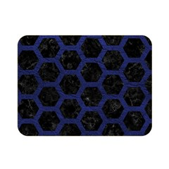 Hexagon2 Black Marble & Blue Leather Double Sided Flano Blanket (mini) by trendistuff