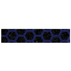 Hexagon2 Black Marble & Blue Leather Flano Scarf (small) by trendistuff