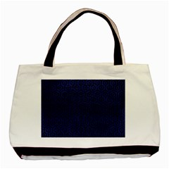Hexagon1 Black Marble & Blue Leather (r) Basic Tote Bag by trendistuff