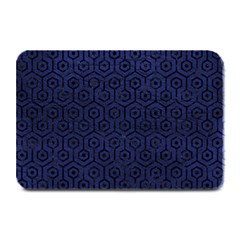 Hexagon1 Black Marble & Blue Leather (r) Plate Mat by trendistuff